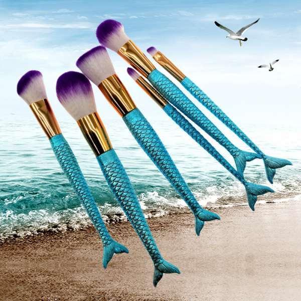 专业热销售6美人鱼化妆刷设置化妆刷套件