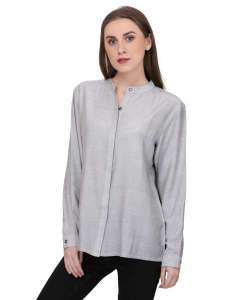 LADIES GREY FORMAL SHIRT WITH LONG SLEEVES WITH COTTON FEEL FABRIC