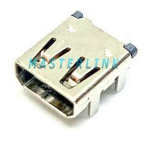 HDMI D Type Female Connector, Top Mount, Shell DIP, Solder Tail SMT Type