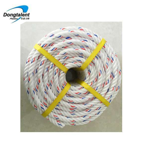 3-4 Strand PP PE Twisted Plastic Danline Rope For Mooring