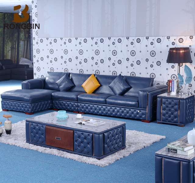 Marvelous Corner L Shape Sofa Blue Color Full Grain Italy Leather Sofa Set Beutiful Home Inspiration Truamahrainfo