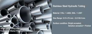 Hydraulic tubing / hydraulic pipes in 316L stainless steel from top quality China factory