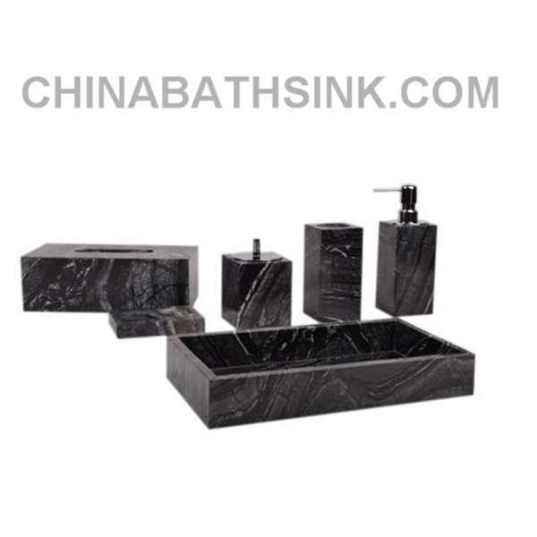 Black Wooden Marble Bathroom Accessories Stone Bath Sets