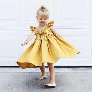 0-3岁飘飘袖女婴连衣裙设计蝴蝶结M8081606