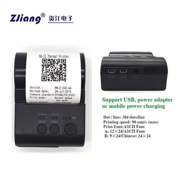 ZJ-5801 Mini Bluetooth Receipt Printer Mobile