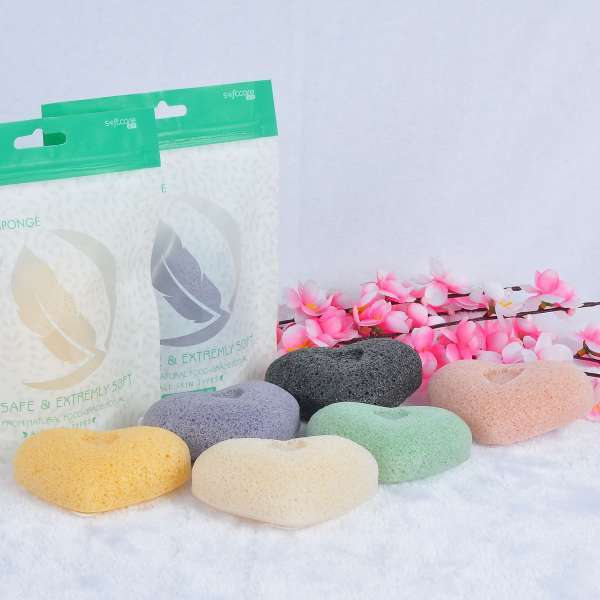 SOFTCARE Heart type facial cleansing konjac sponge