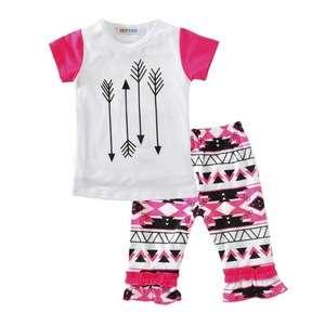 2017 INS男装2件童装男童短袖T恤+几何箭头裤婴儿批发夏装套装婴儿