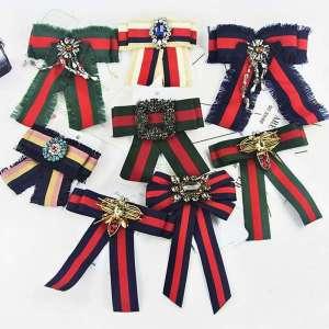 Striped Neck Tie For Women Wedding Banquet Party Shirt Bow Tie Gravata British New Luxury Plaid Rhinestone Crystal Pin Bowtie