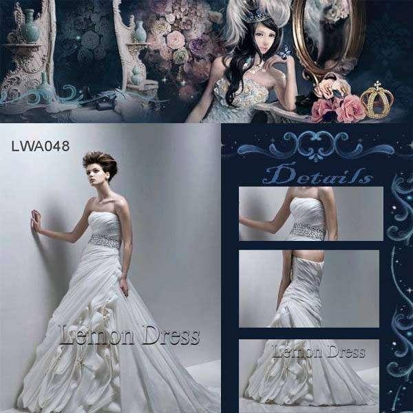 Chiffon Floral Wedding Gown A-line Beading Church Bridal Dress LWA048