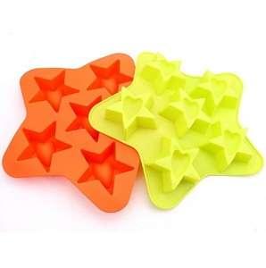 五颜六色食品级定制标志星型硅胶蛋糕模具